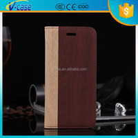 High quality Wallet style Wood texture Leather Case with Credit Card Slots for Blackberry Aristo Z30 A10