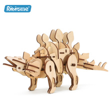 Robotime R/C sound/light control dinosaurs wooden educational toys for kids 3D wooden puzzle for teenagers and adults