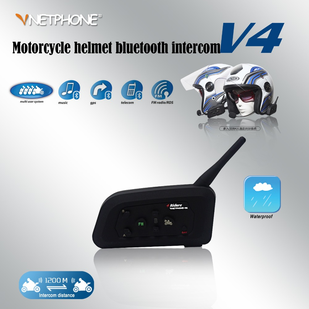 2016 V4 Wireless Hands free Walkie Talkie Bluetooth Motorcycle Helmets for 1200 meters 4 riders full duplex talking same time