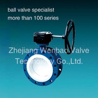 Double flanged Rubber lined gear operated butterfly valves DN250