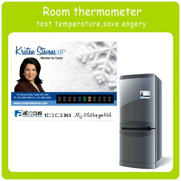 LCD room thermometer card with fridge magnet decorative indoor thermometer