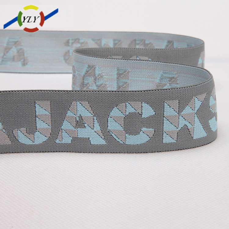 Manufacturer wholesale customized belt buckle logo personalized belt nylon jacquard elastic webbing strap for underwear