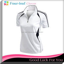 High Quality Mesh Material Polo Shirt For Girls,Women's Coolmax 2 Tone Collar Zipup Polo T-Shirts