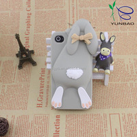 cute grovelled rabbit pattern silicone lphone4 case from factory