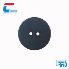 Black PPS Waterpoof Hitag S Washed Round Laundry RFID Tag With Two Holes