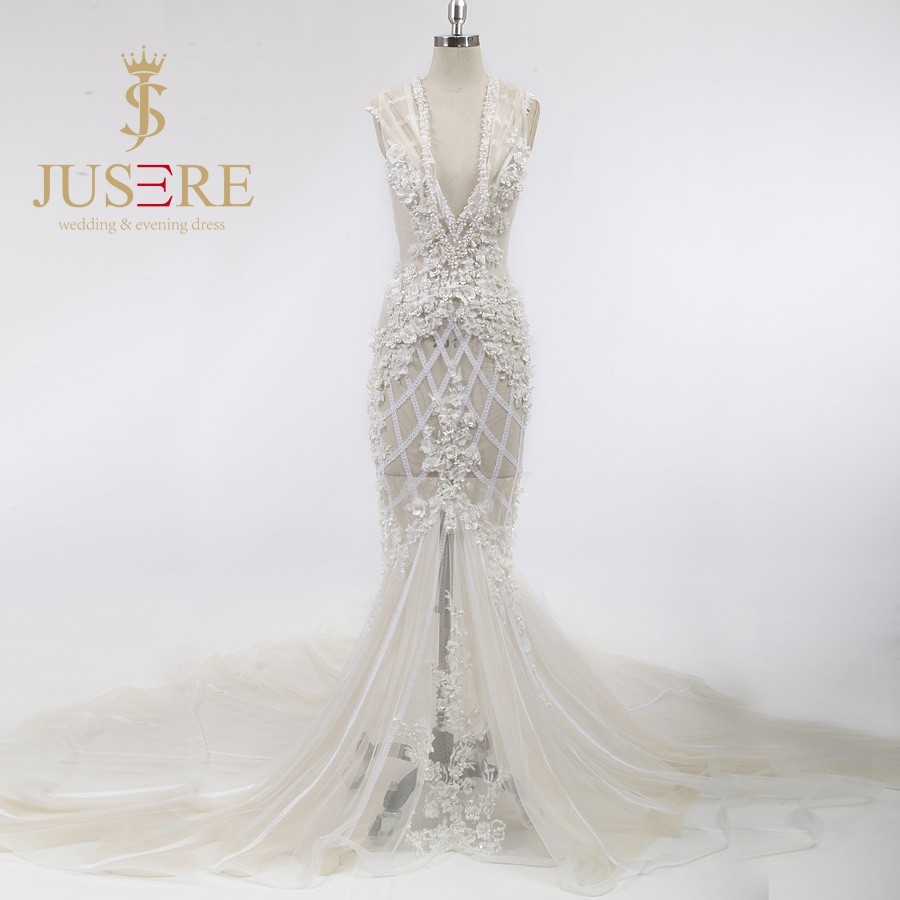 Newest Fashional Illusion Grid Lace Beaded 3D Flowers Low V Backless V Neckline Champagne Sexy Mermaid Wedding Dresses 2016