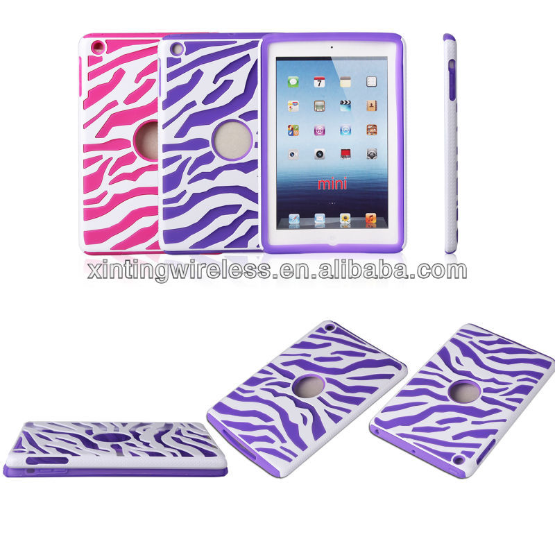 High Quality PU Leather Zebra-stripe Cell Phone Case Cover For Ipad Mini Case