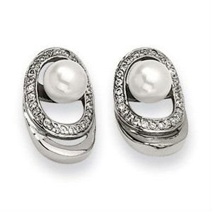 Stainless Steel Cultured Pearl & CZ Earrings -STE7060