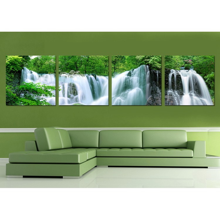 Chinese natural scenery waterfall landscape oil painting