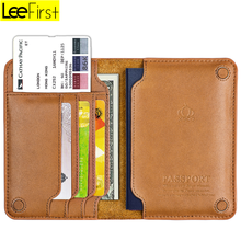 2018 New arrival Genuine Leather Passport Holder Cover Travel Organizer Wallet with Card Slots
