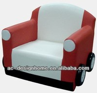 RED/WHITE CAR PVC/WOODEN KID ONE SEAT SOFA