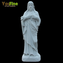Religious sacred heart of marble jesus statue
