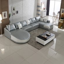 2015 <strong>modern</strong> grey white u shape sectional sofa leather in stock SL0006