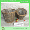 Factory wholesale round small grey Wicker baskets with plastic liner Small flower pot Wicker garden basket