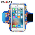 "HAISSKY 5.5"" Full Printing Cartoon Sporting Jogging Universal Armband Arm Wrist Cellphone 6/6s 6plus For Samsung body protector"