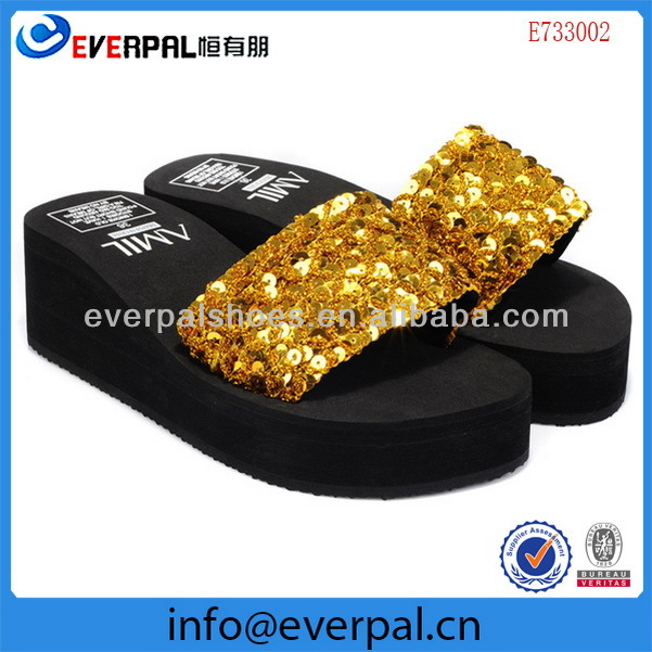Fashion lady wedge eva sequined and beaded slippers