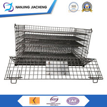Portable Folded Dismountable Rolling Warehouse Lockable Galvanized Metal Stainless Steel Wire Mesh Storage Cage With Wheels