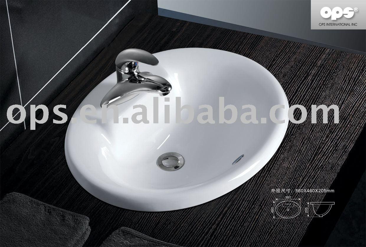 Oval Drop-in Wash Basin / Sink (l-12008) - Buy Sink,Bathroom Sink ...