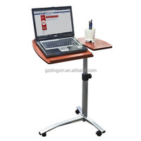 Cheap height adjustable folding laptop desk table on wheels