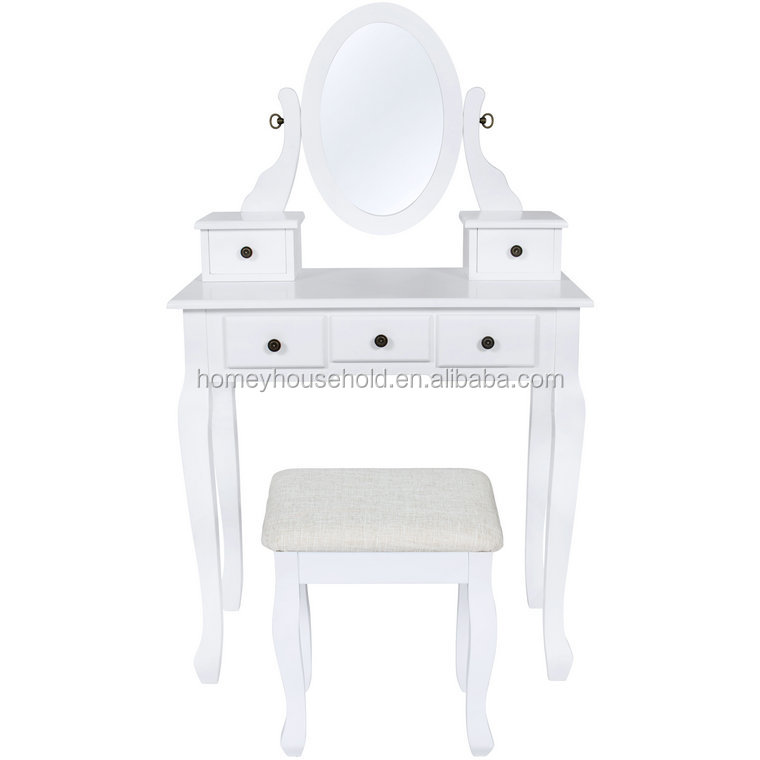 White reproduction rococo furniture girls bedroom sets wooden dresser table with drawer