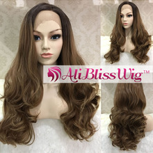 "Wholesale Heat OK Fiber Hair 24"" Long Natural Wavy Dark Roots Two Tone Ombre Brown Side Part Synthetic Lace Front Wig for Women"