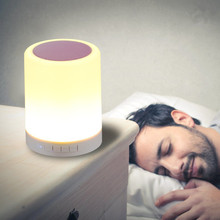 LED Light Bedside Lamp Best Wireless Portable Speaker Touch Sensor With alarm Clock