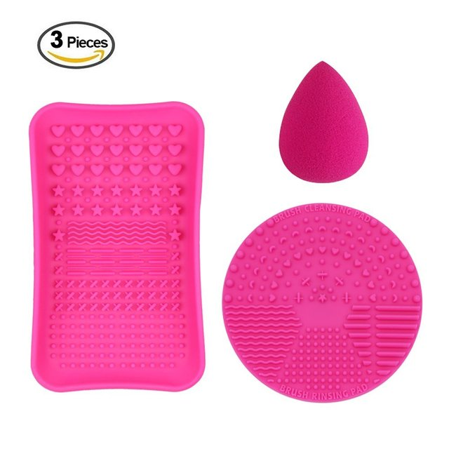 1 Mini Makeup Brush Cleaner mat,1 Cosmetic Brushes Cleaning Plate Portable Washing Tool and 1 Sponge Make Up Brush Cleaning Mat