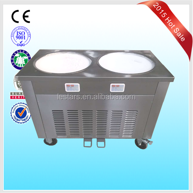Double flat round pans fry roll ice cream machine high production