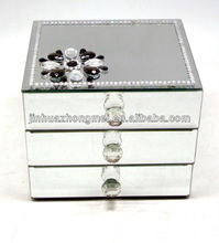 crystal glass wooden mirror jewellery box