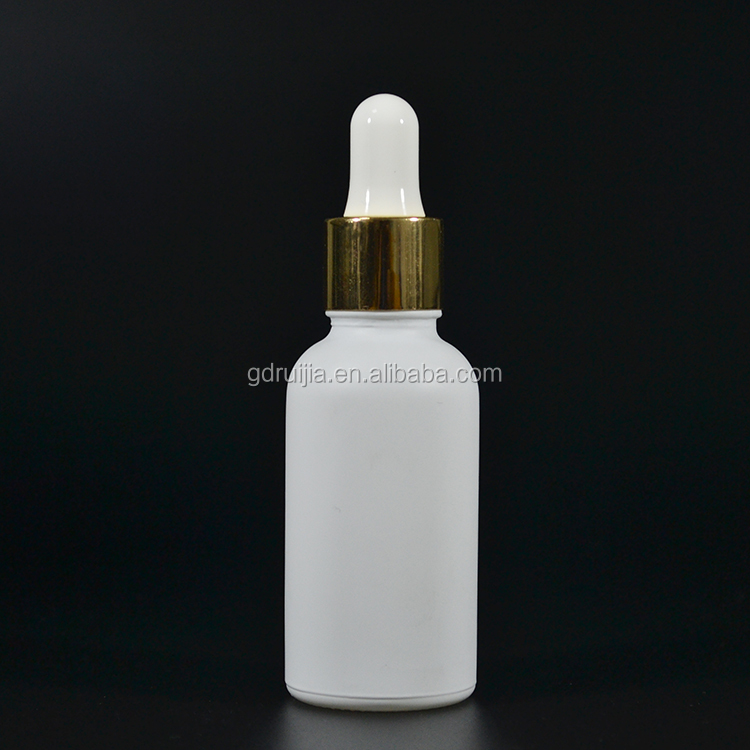 30ml frosted white cosmetic oil glass bottle manufacture