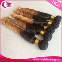 Wholesale good quality new style cheap Indian ombre color human hair weft