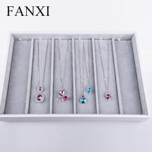 FANXI China Supplier Fashion White PU Leather Necklace Holder Showcase Stackable Wood Jewellery Display Tray