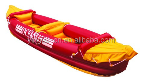 pvc inflatable double fishing kayak with paddle