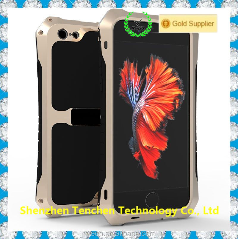 For iPhone 5 5S 6 6s 6plus 6splus Metal Gorilla Glass Extreme Waterproof Dirtproof Shockproof Aluminum Case Cover