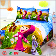 China Supplier 3D Cartoon Print Indian Style 100% Cotton With Masha And Bear Bedding Sets