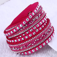 European unsex punk fashion wrap bracelet multilayer leather Rhinestone Rivet Bracelet