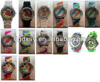 Geneva Tie-Dye and Tattoo Watches, Silicone Band, CZ Face, Great Fun Colors