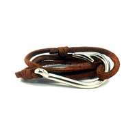 Factory supply fashion handmade leather bracelet