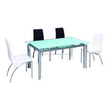 Fashional design dining chrome feet painting tempered glass table set
