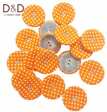 D&D 15pcs/lot Round Metal&Fabric with Colorful Dot Button Fabric Covered Buttons For Clothes Sewing Supplies
