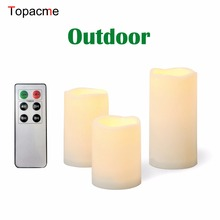 Outdoor Flameless Candles with Remote Timer Plastic Realistic Flickering 3 Pack LED Candle