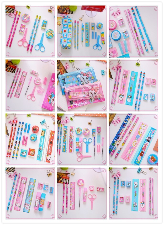 gift free school supplies sample cheap price high quality back to school mini rubber eraser pen stationery set for kids