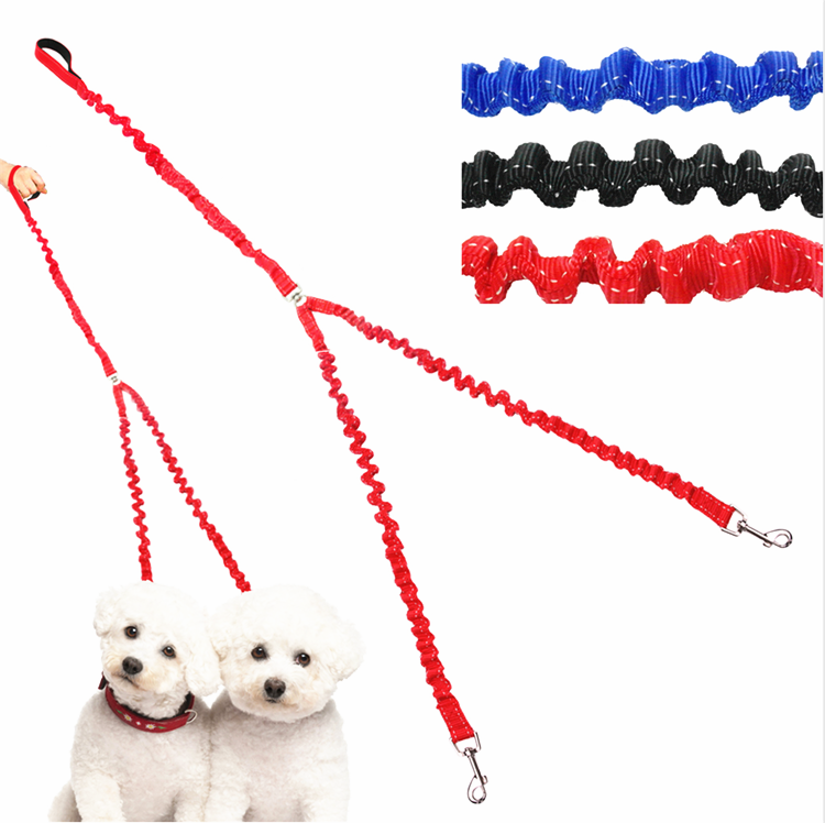 Dual No-Tangle Pet Bungee Leads For 2 Dogs Nylon Double Coupler Dog Leash