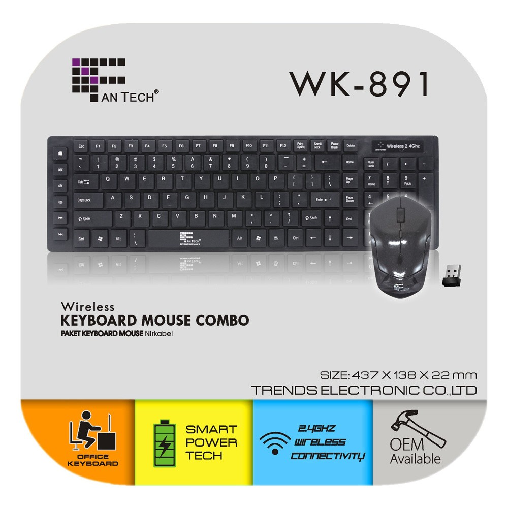 office keyboard and mouse combo promotion wired keyboard wired mouse Fantech WK-