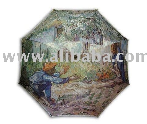 "Gogh""Frist steps""painting long size automatic umbrella"
