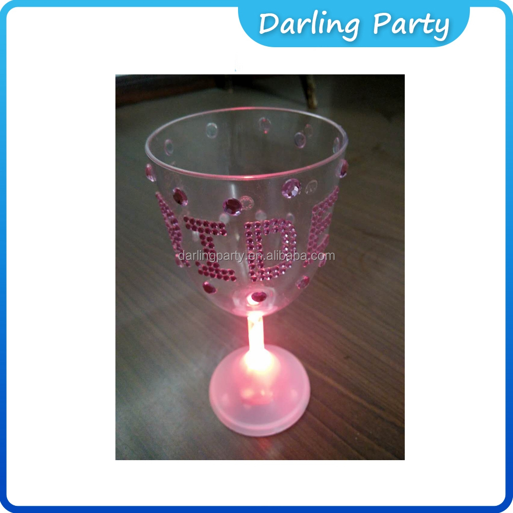 Brides Giant Bling Glitter Glitzy Cup And Light Up Ring