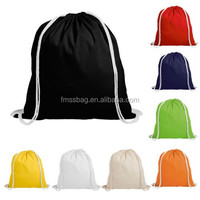 Handmade Colorful School Gym Bags Cotton Canvas Drawstring Backpack Bag