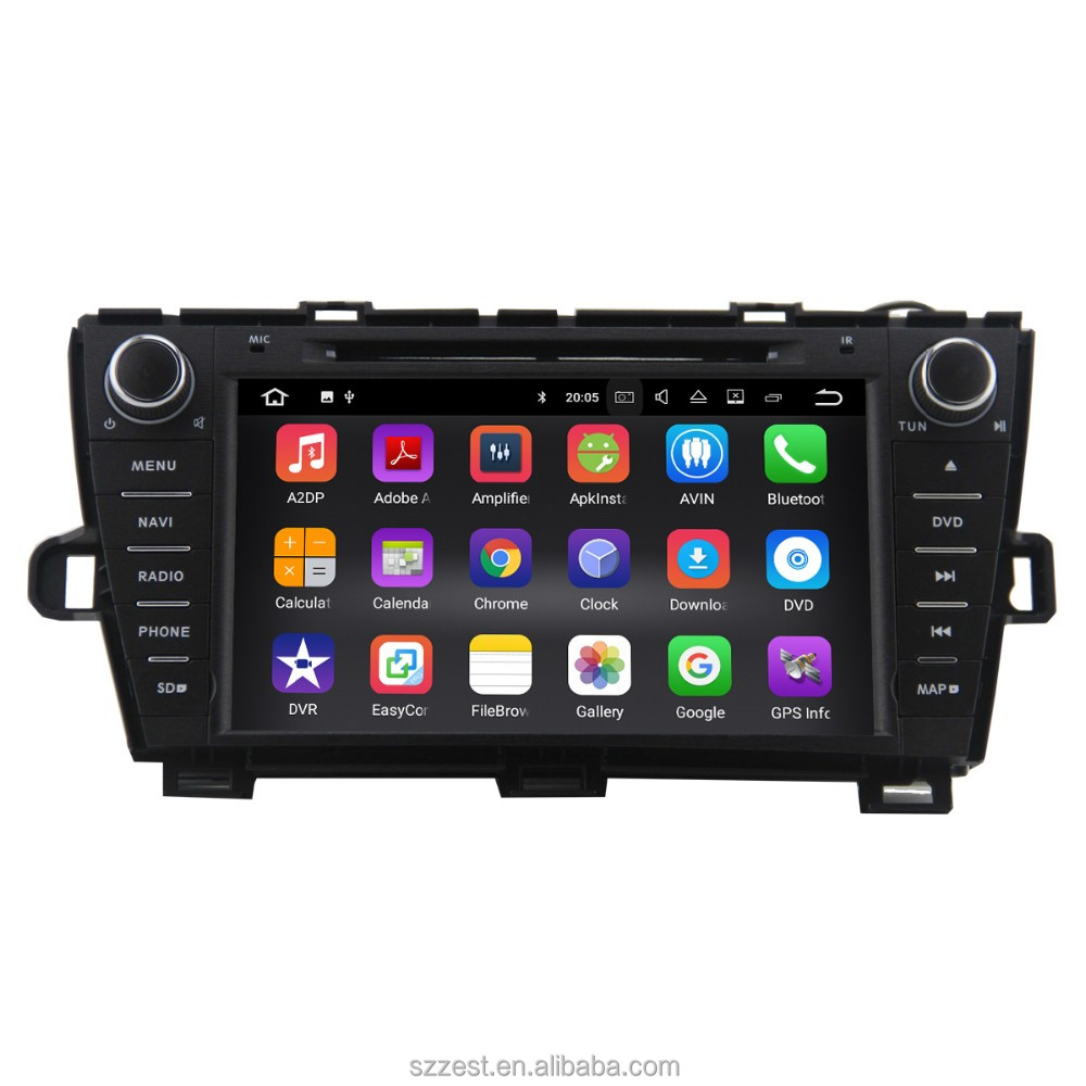 Android 7.1 car gps headunit radio for Toyota Prius 2009 2010 2011 2012 2013 in dash 1024*600 navigation
