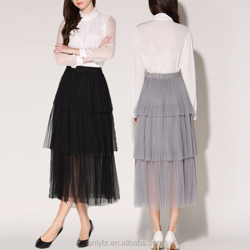 Hot sale wholesale fashion ladies tiered ruffle plain maxi skirt