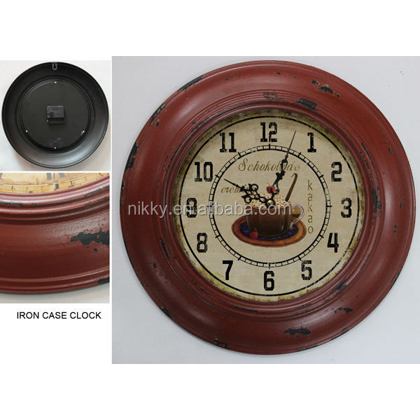 Wall Mount,Vintage Antiqued Metal Frame,Glass front metal wall art clock
